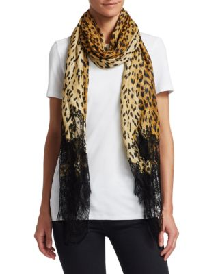 Lace-Trimmed Leopard Shawl
