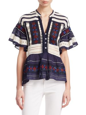 Printed Embroidered Blouse