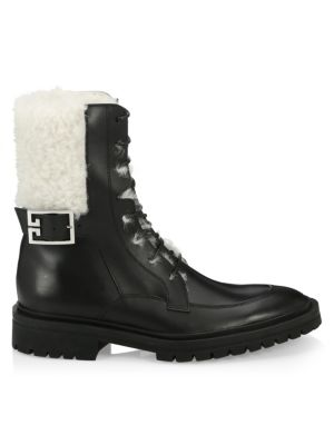Aviator Leather Shearling-Lined Ankle Boots