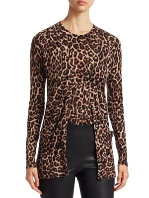 COLLECTION Animal Print Cashmere Cardigan