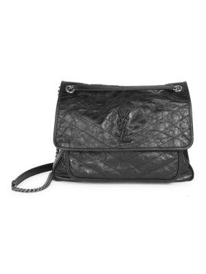 Large Niki Chain Crinkle Leather Shoulder Bag