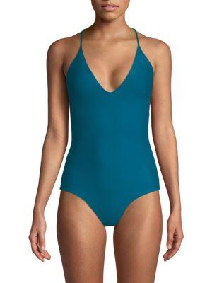 MIKOH Las Palmas Full Coverage Cross-Back One-Piece Swimsuit