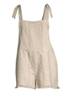 MIKOH Akamai Linen Tie-Shoulder Romper