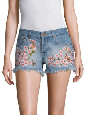 AO.LA BY ALICE + OLIVIA | Embroidered Vintage Shorts | Goxip