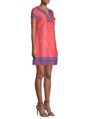EMBELLISHED COTTON & LINEN TUNIC DRESS