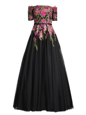 Off-The-Shoulder Floral Ball Gown