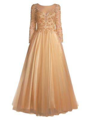 Floral Appliqué Ball Gown