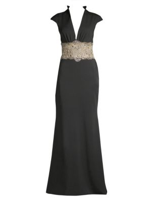 Sleeveless Sequin-Waist Gown