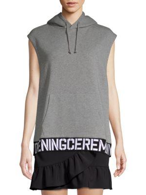 OPENING CEREMONY Sleeveless Cotton Logo Hoodie Vest