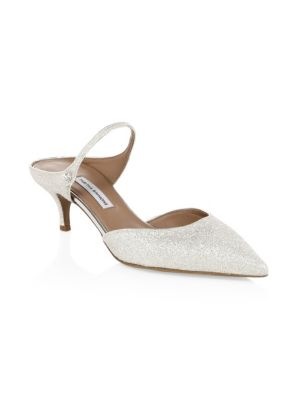 30e84b806ba Elasticized inset at slingback strap. Leather-covered kitten heel. Slips  on. Lined with leather. Leather sole. Available in White. Made in Italy.