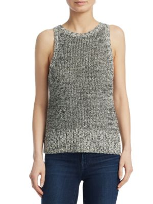 CABLE WOOL PAPER BLEND SLEEVELESS SWEATER