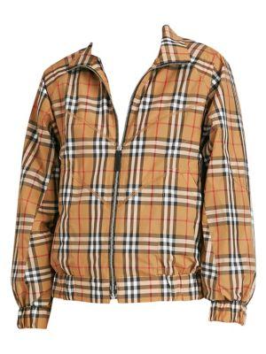 Topstitch Detail Vintage Check Harrington Jacket