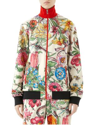 Long-Sleeve Jersey Floral Zip-Up Jacket