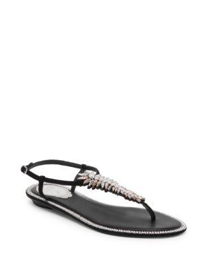 Embellished T-Strap Flat Sandals