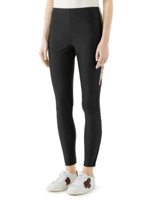 Side-stripe logo-jacquard jersey leggings