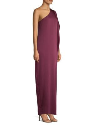 Side Ruched One-Shoulder Gown
