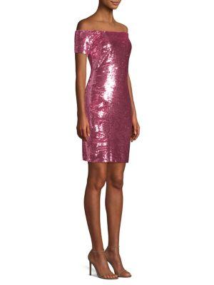 Off-The-Shoulder Sequin Cocktail Dress