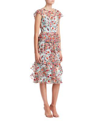 ML MONIQUE LHUILLIER Chiffon Floral Ruffle Day Dress
