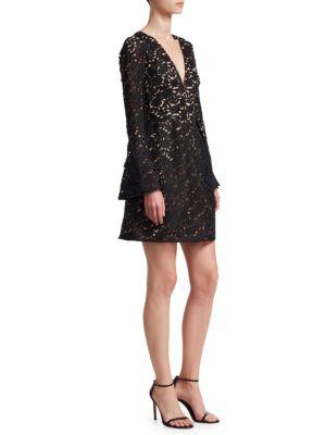 ML MONIQUE LHUILLIER Floral Lace A-Line Dress