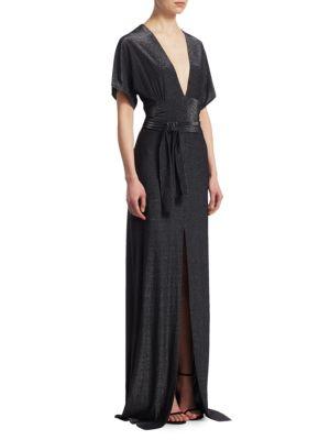 Metallic V-Neck Gown