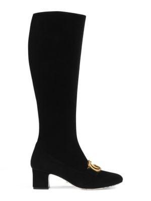 Velvet Mid-Heel Double G Boots