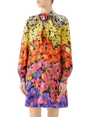 FLORAL-PRINTED SILK DRESS