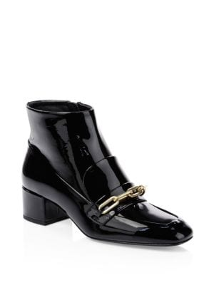 Chain Patent Leather Ankle Boots