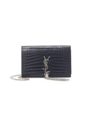 Kate Tassel Croc-Embossed Leather Shoulder Bag
