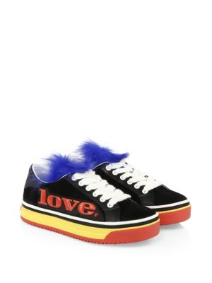 EMPIRE LOVE GENUINE SHEARLING & CALF HAIR TRIM SNEAKER