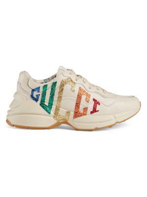Rhyton Glitter Gucci Leather Sneaker