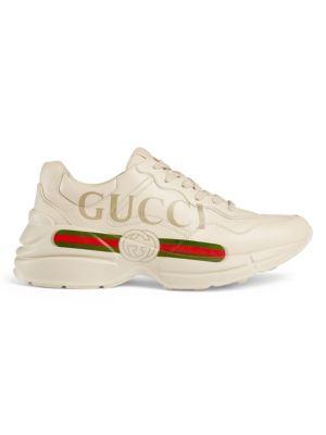 Rhyton Gucci Logo Leather Sneaker