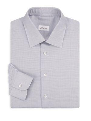 Regular-Fit Line Cotton Dress Shirt