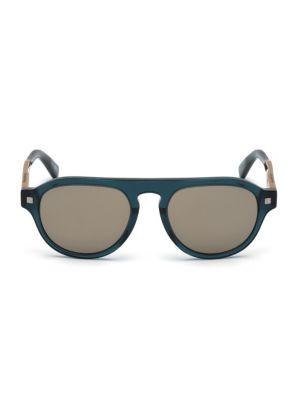 ERMENEGILDO ZEGNA | Shiny 53MM Aviator Sunglasses | Goxip