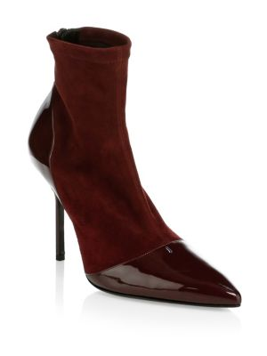 Suede & Leather High Heel Ankle Boots