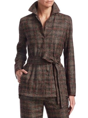 Plaid Belted Jacket