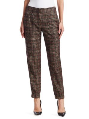 Florin Wool & Silk Plaid Pants
