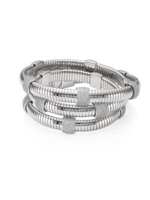 Rhodium-Plated Pavé Station Wrap Bracelet