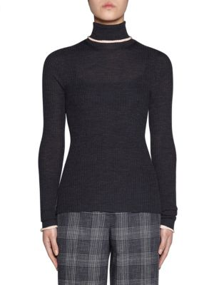 Merino Wool Ribbed Turtleneck