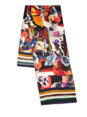 Silk Scarf in Rose Collage Print