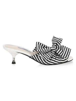 Stripe Mules With Large Bow by Prada