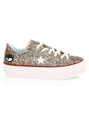 Chiara Ferragni One Star Glitter Leather Platform Sneakers