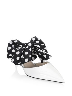 Polka Dot Bow Leather Mules