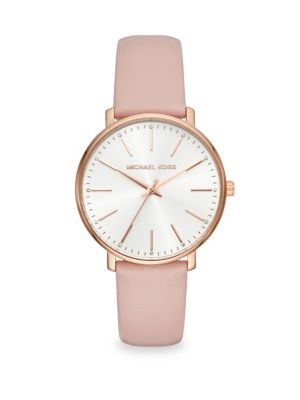 Pyper Rose Goldtone and Leather Strap Watch