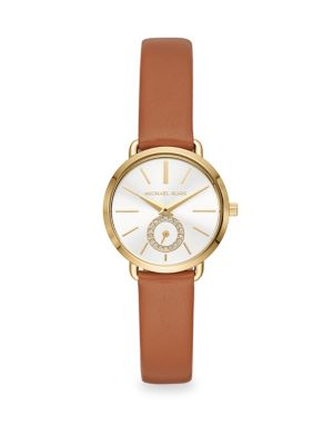 Portia Goldtone and Leather Strap Watch