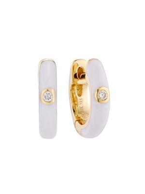 EF COLLECTION 14K Yellow Gold Single Diamond Enamel Huggie Earrings
