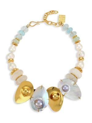 Puglia 18K Goldplated 18mm Baroque Pearl, Quartz, & Aquamarine Shell Bib Necklace
