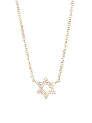 EF COLLECTION Diamond & 14K Yellow Gold Star of David Pendant