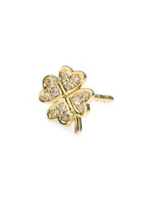 EF COLLECTION Diamond & 14K Yellow Gold Clover Single Stud Earring