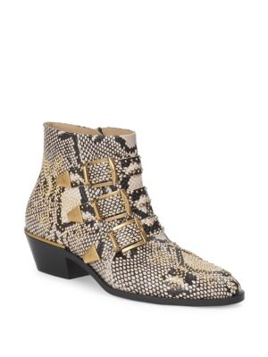 CHLOE SUSANNA PYTHON PRINT LEATHER STUDDED ANKLE BOOTS IN ANIMAL PRINT,NEUTRALS