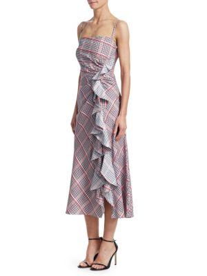 A-Line Plaid Ruffle Dress